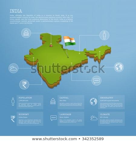 bayrak · Hindistan · örnek · katlanmış · Internet · harita - stok fotoğraf © 4designersart