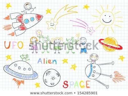 Futuristic children girl astronaut at spacecraft stock photo © lunamarina