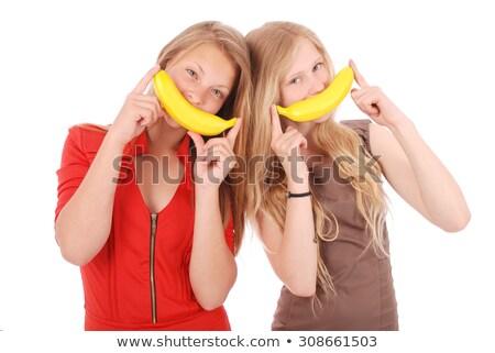 portrait · jeune · femme · banane · isolé · fille · visage - photo stock © acidgrey