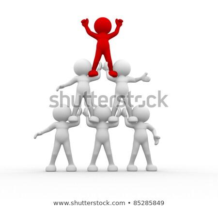 3d mensen leiderschap grijs abstract team communicatie Stockfoto © Quka