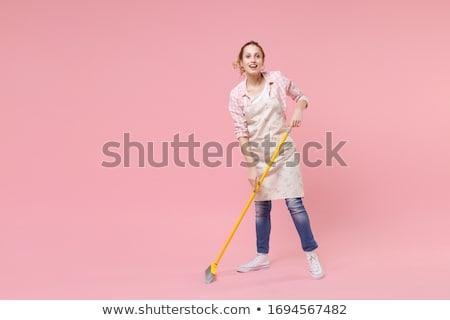 temizleyici · kadın · zemin · kadın · pembe · gülen - stok fotoğraf © wavebreak_media