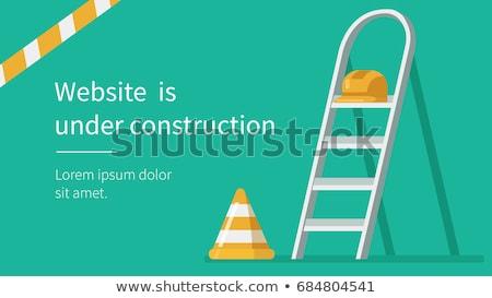 építkezés citromsárga munkavédelmi sisak sisak védőszemüveg építőipar Stock fotó © stevanovicigor