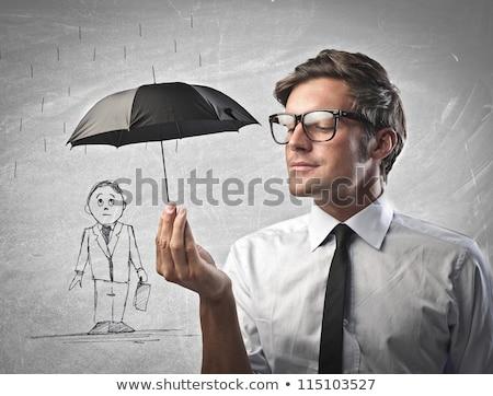 Pequeño hombre paraguas 3D blanco lluvia Foto stock © karelin721