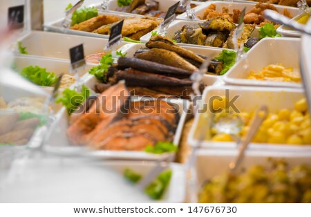 Grocery store. Different served meals on sale Stock photo © HASLOO