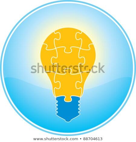 Light Bulb Icon On Orange Puzzle Stok fotoğraf © ALMAGAMI