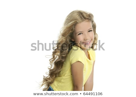 Photo stock: Ittle · Blond · Girl · Smiling · Portrait · Tshirt · jaune · isolé · sur · Whi