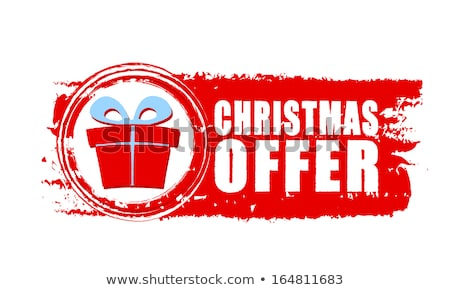 christmas offer and gift box on red drawn banner Stock photo © marinini