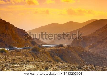 Yol kırmızı dağlar İsrail dar çöl Stok fotoğraf © rglinsky77