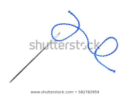 kék · fonál · tű · izolált · fehér · textúra - stock fotó © tetkoren