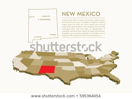 карта Нью-Мексико 3D форма синий Сток-фото © NiroDesign