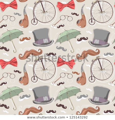 Sketch hat, tie and mustache, vector  seamless pattern Stock photo © kali