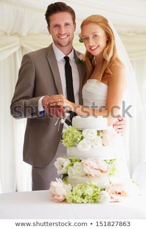 portré · menyasszony · sátor · recepció · virágok · esküvő - stock fotó © monkey_business
