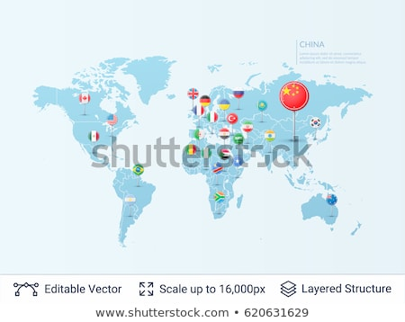 world map with pointer marks flags stock photo © orson