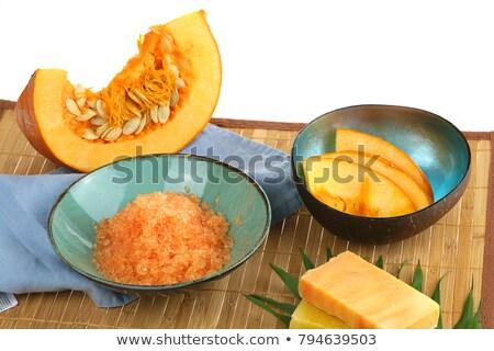 Dynia mydło krem starych drewniany stół tle Zdjęcia stock © marimorena