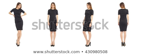 Fekete ruha nő áll fém fal lány Stock fotó © hlehnerer