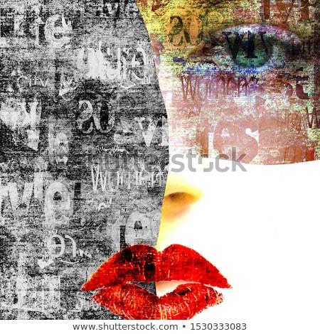Szépség kollázs nők szokatlan smink festék Stock fotó © gromovataya