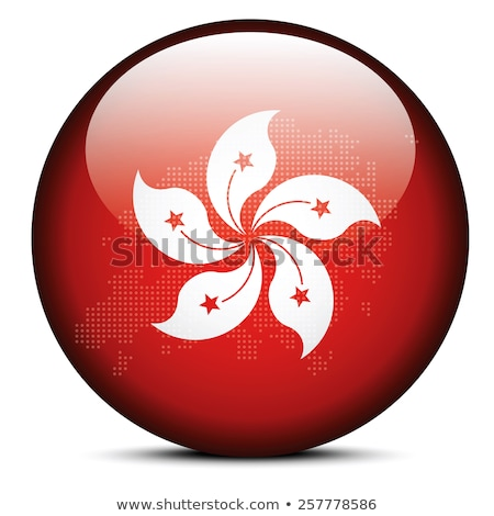map with dot pattern on flag button of hong kong sar china stock photo © istanbul2009