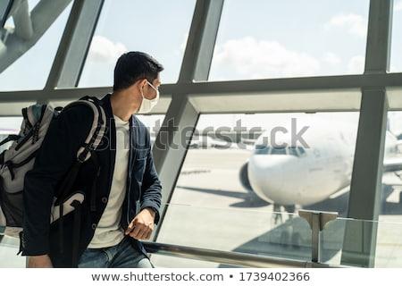 bilgi · havaalanı · turist · siluet · imzalamak · seyahat - stok fotoğraf © ssuaphoto