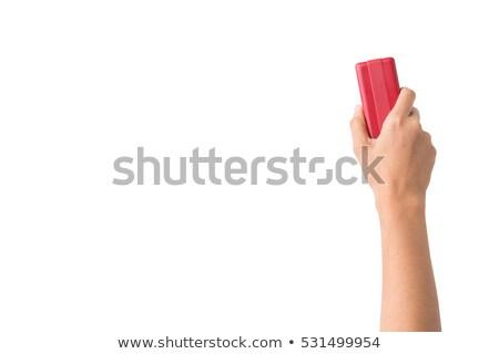 Kéz radír izolált fehér nő papír Stock fotó © fuzzbones0