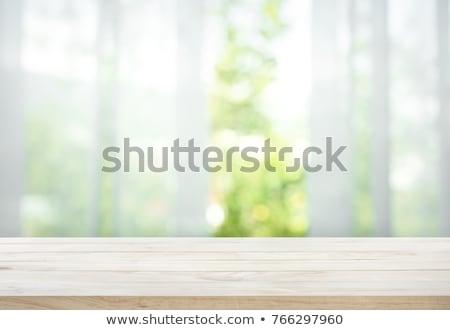ストックフォト: ウィンドウ · 木製 · 家 · 白 · カーテン · 木材