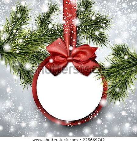 Piros karácsony labda zöld művészet hó Stock fotó © rommeo79