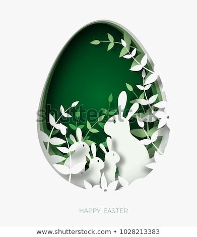 Easter Bunny And Colored Eggs Easter Card Template Vector
