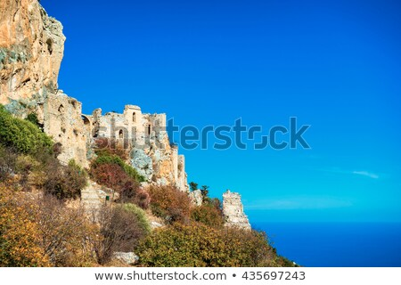 saint hilarion castle on a cliff above the mediterranean sea ky stock photo © kirill_m