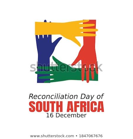 Foto stock: Reconciliación · ilustración · cara · pie · feliz