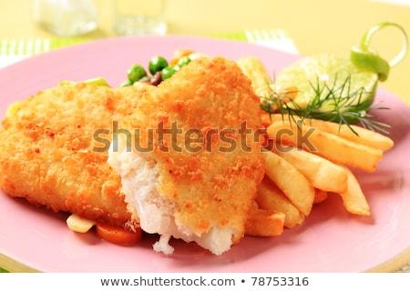 魚 · チップ · トレイ · 表 · ディナー - ストックフォト © digifoodstock