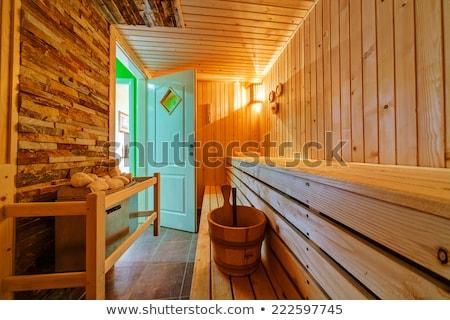 Kicsi otthon fából készült szauna belső test Stock fotó © michaklootwijk