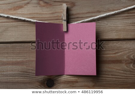 Plum Greetings Card Pegged to String on Wood Background Stock photo © frannyanne