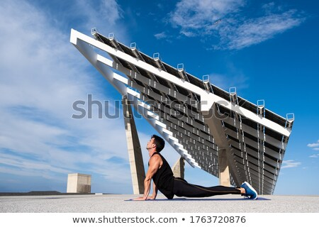 man · oefenen · yoga · hond · pose · strand - stockfoto © rastudio