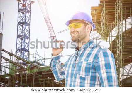 vrolijk · werknemer · architect · bouwvakker · gebaar - stockfoto © wavebreak_media