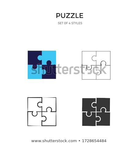 quatro · cor · peças · do · puzzle · isolado · branco - foto stock © oakozhan