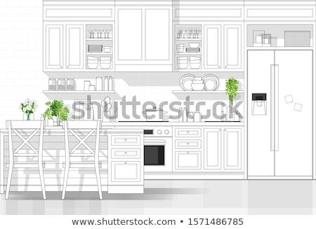 keuken · interieur · lijn · ontwerp · koelkast · keuken · meubels - stockfoto © kali