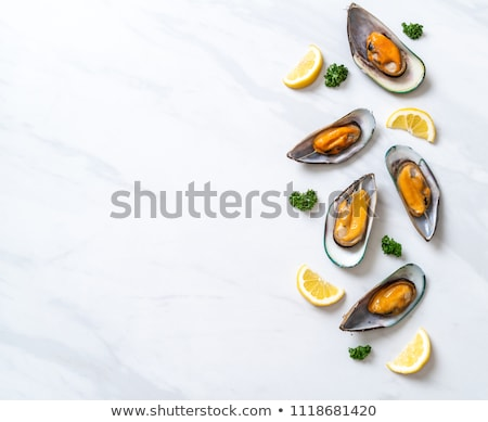 boiled mussels with parsley stock photo © m-studio