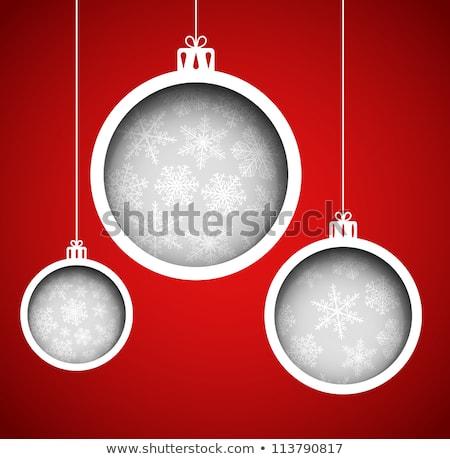 Piros keret hópelyhek eps 10 vektor Stock fotó © beholdereye