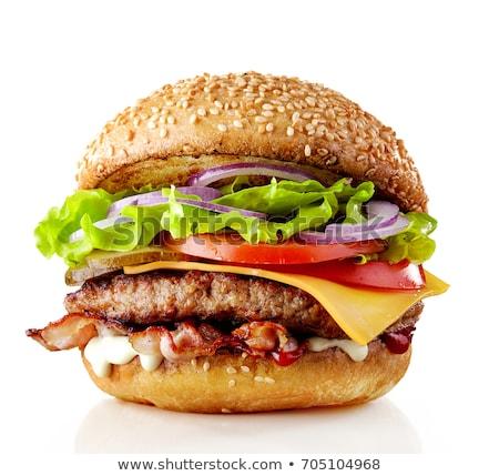hamburger · Fotografia · amerykański · hamburg · drewniany · stół - zdjęcia stock © m-studio