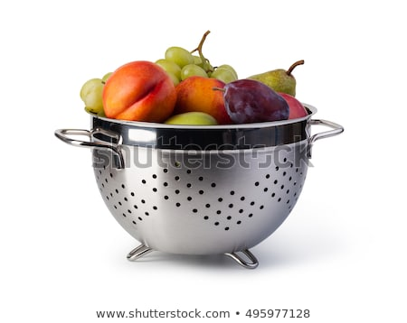 peaches in colander isolated stock photo © simply