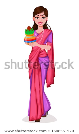 Beautiful indian girl in traditional saree. Vector illustration isolated on white background. Stock photo © maia3000