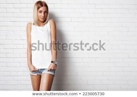 çekici kız beyaz üst çekici ince kız Stok fotoğraf © fotoduki
