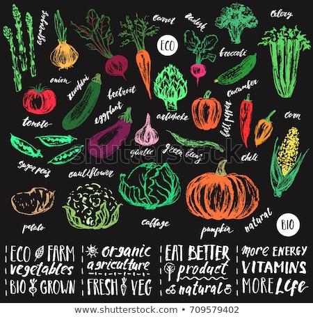 Sebze harfler patates lahana vegan Stok fotoğraf © popaukropa