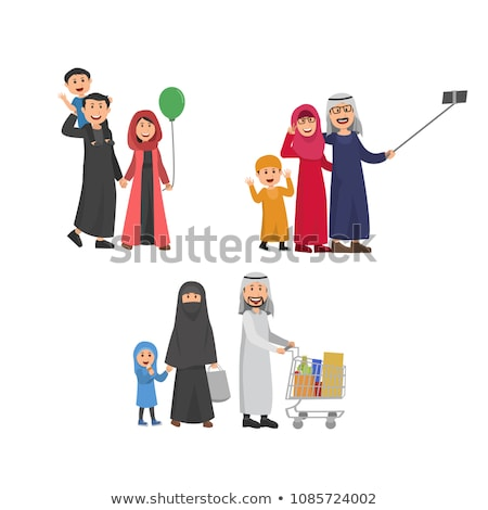 Stockfoto: Arab · familie · moslim · mensen · saudi · cartoon