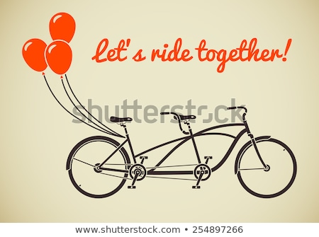 Classic romantic tandem bicycle with balloons in flat style vect Stock photo © NikoDzhi