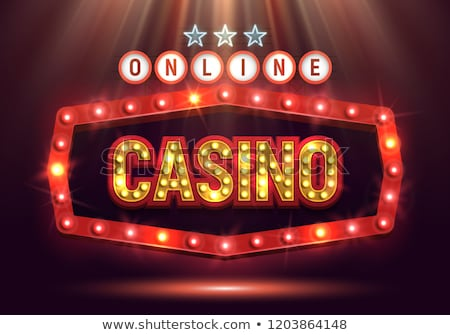 Photo stock: Online Casino Poster Vector Poker Gambling Casino Sign Bright Chips Playing Dice Dollar Coins W