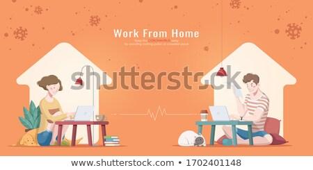 Férfi nő ölelkezés iroda pár üzletember Stock fotó © IS2