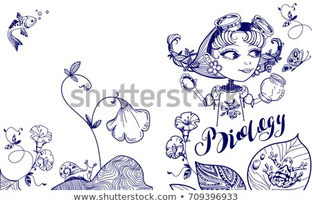 Pretty nerd girl catches butterfly in jar. Cover template for biology Stock photo © orensila