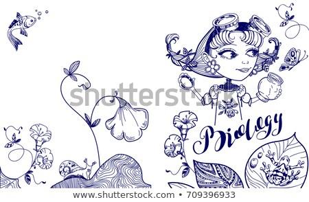 Ziemlich nerd Mädchen Schmetterling jar decken Stock foto © orensila