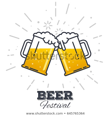 Two beer mugs clink. Symbol of Oktoberfest. Vector logo holiday  Stock photo © popaukropa
