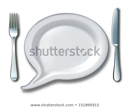 fork and knife with speech bubble plate stock photo © adrian_n